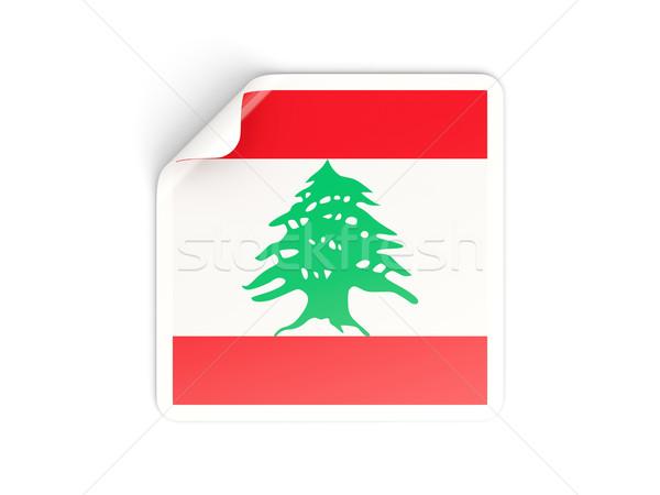 квадратный наклейку флаг Ливан изолированный белый Сток-фото © MikhailMishchenko
