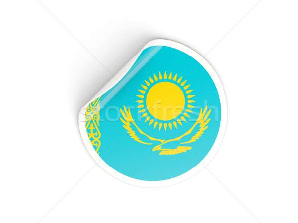 наклейку флаг Казахстан изолированный белый путешествия Сток-фото © MikhailMishchenko