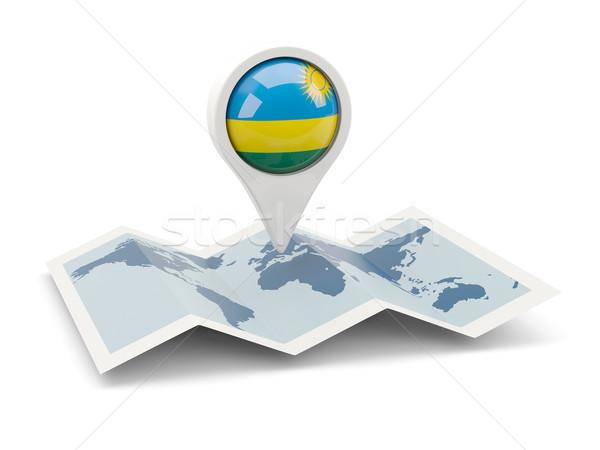 Round pin with flag of rwanda Stock photo © MikhailMishchenko