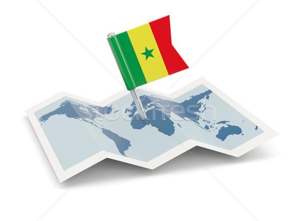 Térkép zászló Szenegál izolált fehér Stock fotó © MikhailMishchenko