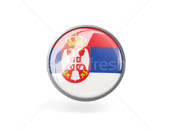 Icono bandera Serbia metal marco viaje Foto stock © MikhailMishchenko