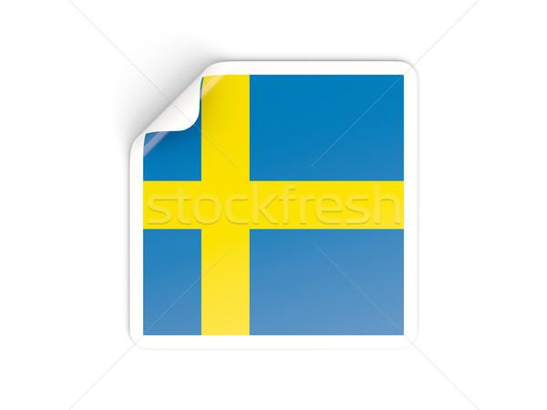 Praça adesivo bandeira Suécia isolado branco Foto stock © MikhailMishchenko
