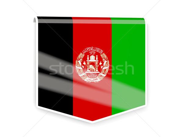Bayrak etiket Afganistan yalıtılmış beyaz imzalamak Stok fotoğraf © MikhailMishchenko