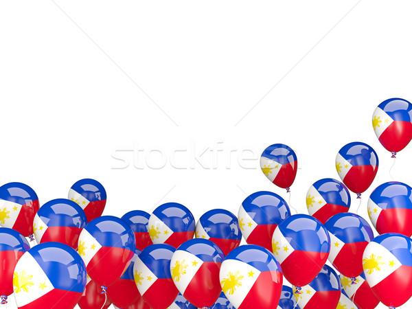 Pływające balony banderą Filipiny odizolowany biały Zdjęcia stock © MikhailMishchenko
