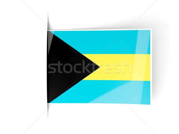 квадратный Label флаг Багамские острова изолированный белый Сток-фото © MikhailMishchenko