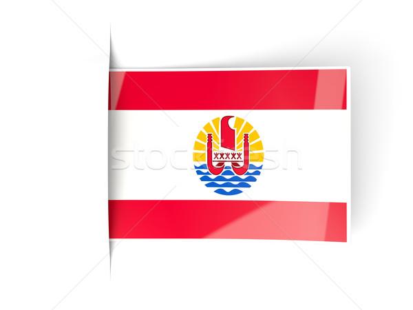 Piazza etichetta bandiera francese polinesia isolato Foto d'archivio © MikhailMishchenko