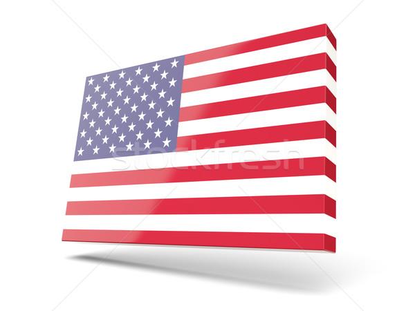 Kare ikon bayrak Amerika Birleşik Devletleri Amerika yalıtılmış Stok fotoğraf © MikhailMishchenko