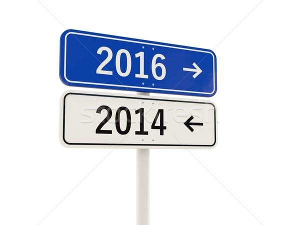 2016 új év jelzőtábla izolált fehér felirat Stock fotó © MikhailMishchenko