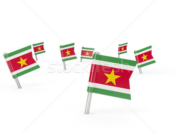 квадратный флаг Суринам изолированный белый стране Сток-фото © MikhailMishchenko