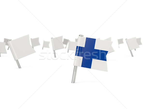 Vierkante pin vlag Finland geïsoleerd witte Stockfoto © MikhailMishchenko