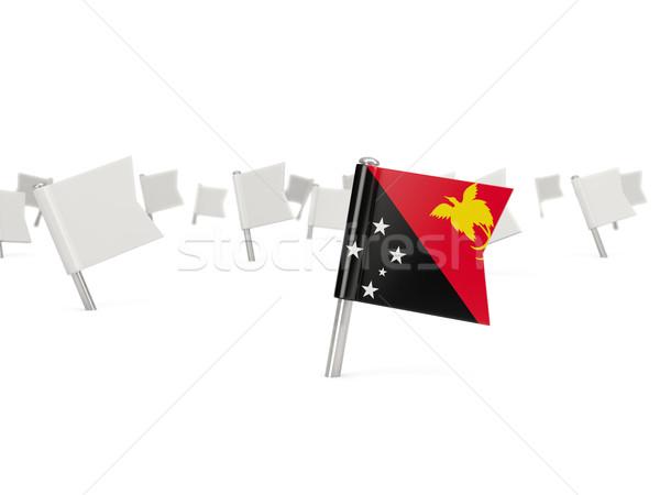 Kare pin bayrak Papua Yeni Gine yalıtılmış beyaz Stok fotoğraf © MikhailMishchenko