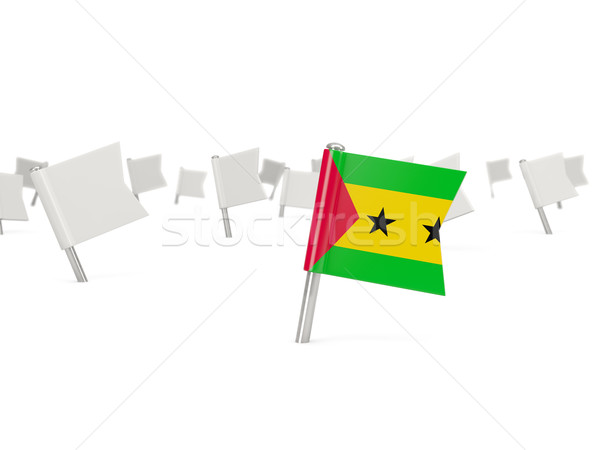 Square pin with flag of sao tome and principe Stock photo © MikhailMishchenko