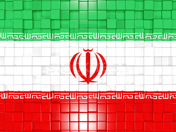 Stock photo: Background with square parts. Flag of iran. 3D illustration