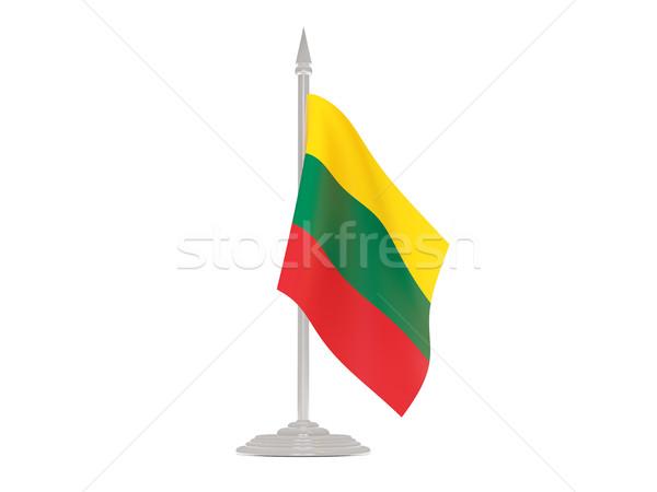 Banderą Litwa maszt 3d odizolowany biały Zdjęcia stock © MikhailMishchenko