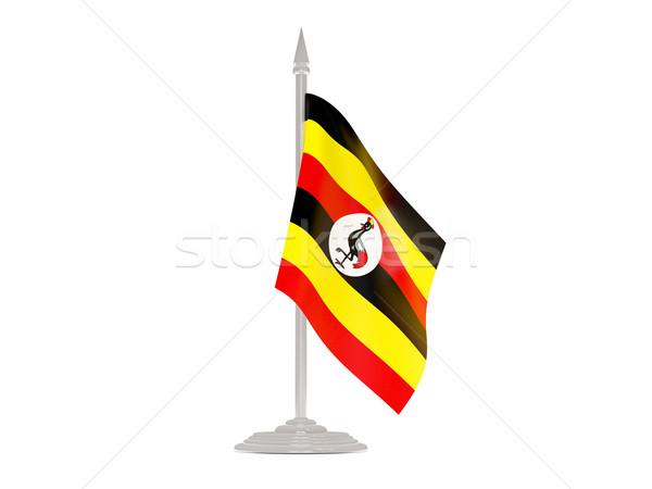 флаг Уганда флагшток 3d визуализации изолированный белый Сток-фото © MikhailMishchenko