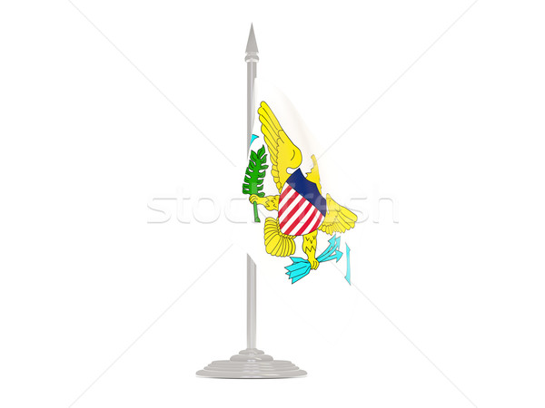 Flagge Virgin Islands Fahnenmast 3d render isoliert weiß Stock foto © MikhailMishchenko