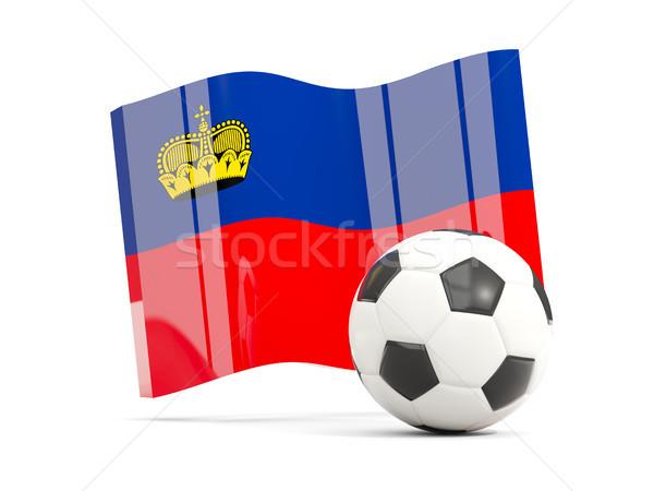 Football with waving flag of liechtenstein isolated on white Stock photo © MikhailMishchenko