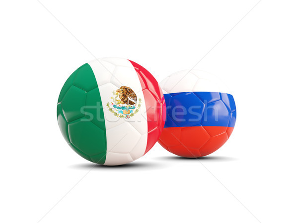 Two footballs with flags of Mexico and Russia isolated on white Stock photo © MikhailMishchenko