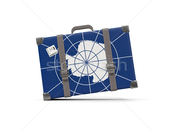Luggage with flag of antarctica. Suitcase isolated on white Stock photo © MikhailMishchenko