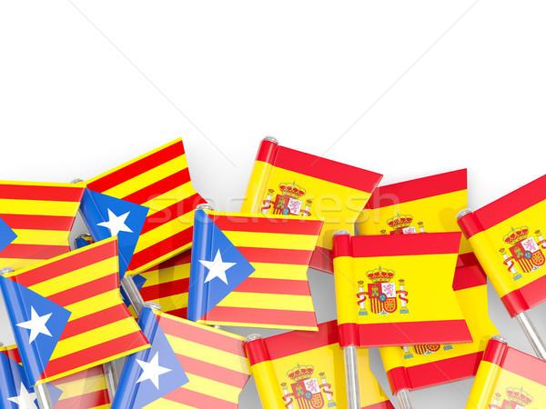 フラグ スペイン 孤立した 白 3次元の図 ピン ストックフォト © MikhailMishchenko