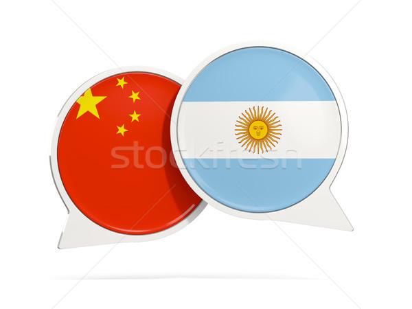 Chat bulles Chine Argentine isolé blanche Photo stock © MikhailMishchenko