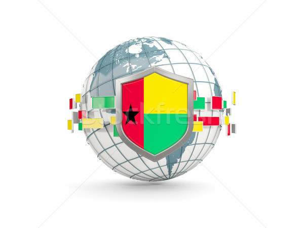 Globe and shield with flag of guinea bissau isolated on white Stock photo © MikhailMishchenko