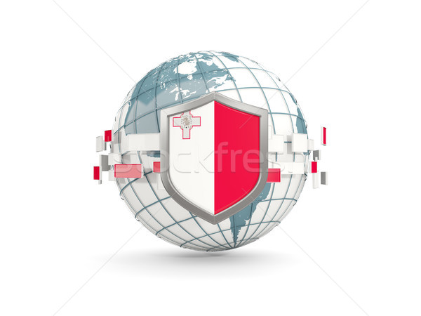 Globe and shield with flag of malta isolated on white Stock photo © MikhailMishchenko