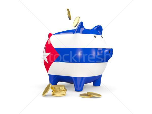 Gordura piggy bank Cuba dinheiro isolado branco Foto stock © MikhailMishchenko