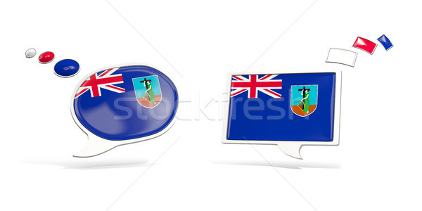 Two chat icons with flag of montserrat Stock photo © MikhailMishchenko
