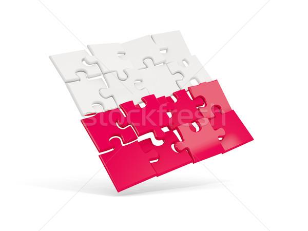 Quebra-cabeça bandeira Polônia isolado branco ilustração 3d Foto stock © MikhailMishchenko