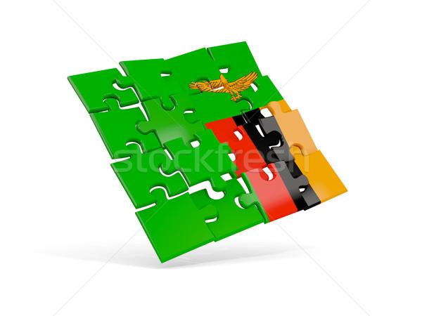 Bilmece bayrak Zambiya yalıtılmış beyaz 3d illustration Stok fotoğraf © MikhailMishchenko