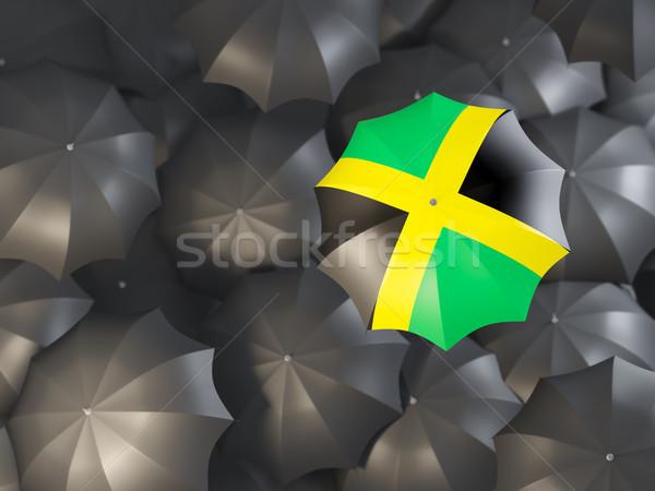Esernyő zászló Jamaica felső fekete esernyők Stock fotó © MikhailMishchenko
