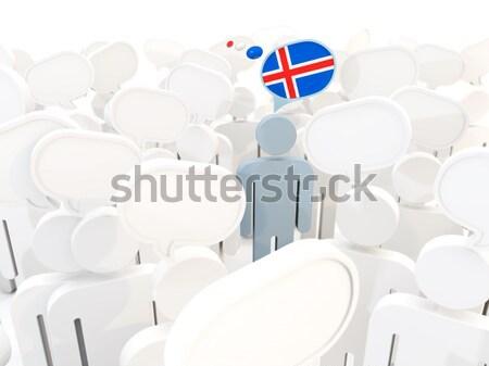 Homem bandeira Finlândia multidão ilustração 3d assinar Foto stock © MikhailMishchenko