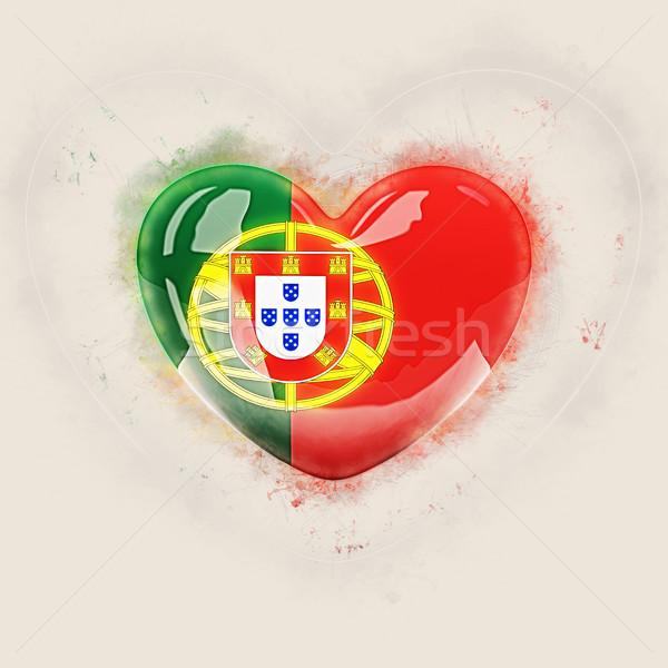 сердце флаг Португалия Гранж 3d иллюстрации путешествия Сток-фото © MikhailMishchenko