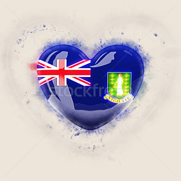 Hart vlag Virgin Islands brits grunge 3d illustration Stockfoto © MikhailMishchenko