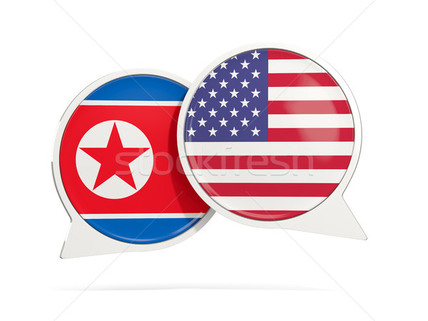 Chat bubbles with flags of North Korea and US Stock photo © MikhailMishchenko