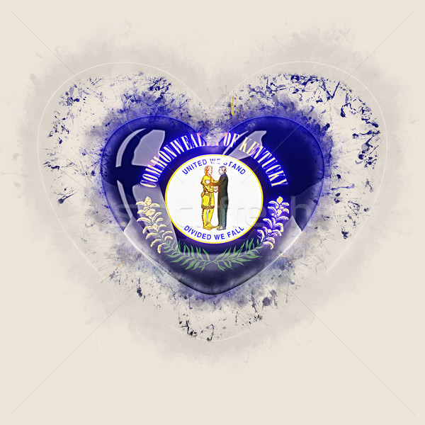 kentucky state flag on a grunge heart. United states local flags Stock photo © MikhailMishchenko