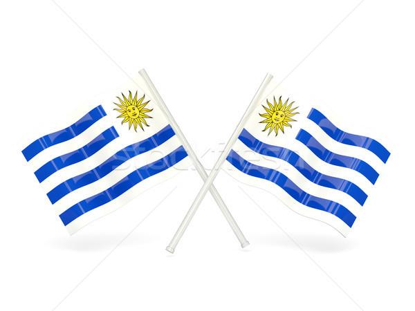 флаг Уругвай два волнистый флагами изолированный Сток-фото © MikhailMishchenko