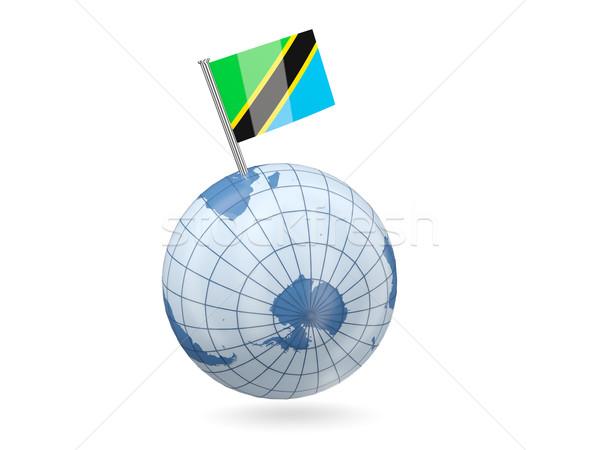 Földgömb zászló Tanzánia kék izolált fehér Stock fotó © MikhailMishchenko