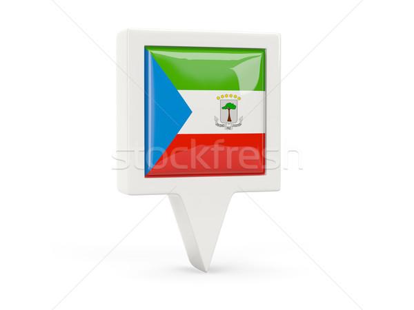 Praça bandeira ícone Guiné Equatorial isolado branco Foto stock © MikhailMishchenko