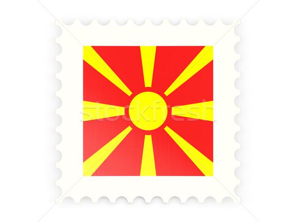 Postabélyeg ikon Macedónia izolált fehér felirat Stock fotó © MikhailMishchenko