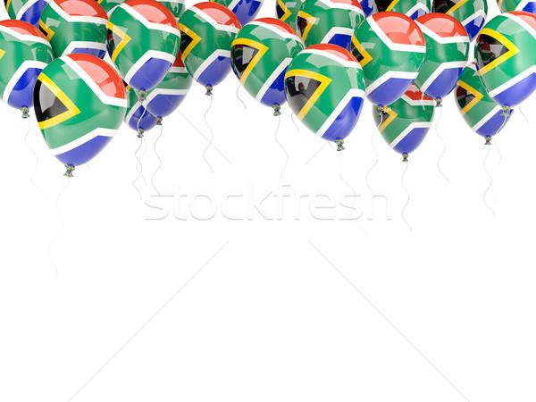 Balão quadro bandeira África do Sul isolado branco Foto stock © MikhailMishchenko