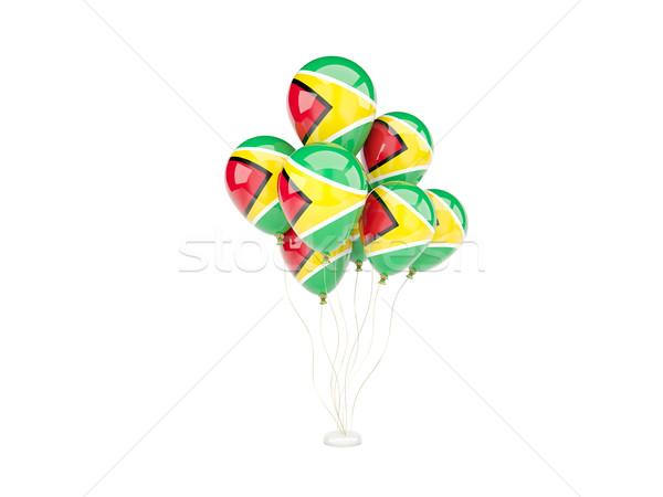 Repülés léggömbök zászló Guyana izolált fehér Stock fotó © MikhailMishchenko