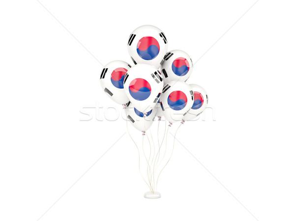 Uçan balonlar bayrak Güney Kore yalıtılmış beyaz Stok fotoğraf © MikhailMishchenko