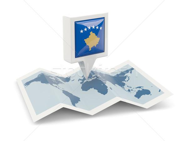 Praça pin bandeira Kosovo mapa viajar Foto stock © MikhailMishchenko