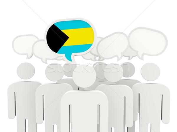 Menschen Flagge Bahamas isoliert weiß Sitzung Stock foto © MikhailMishchenko