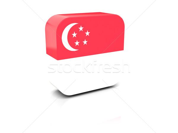 Tér ikon zászló Szingapúr tükröződés fehér Stock fotó © MikhailMishchenko