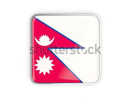 Cuadrados icono bandera Nepal metal marco Foto stock © MikhailMishchenko