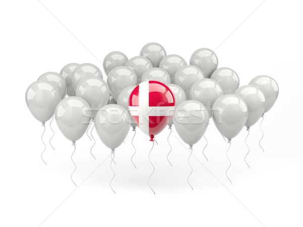 Hava balonlar bayrak Danimarka yalıtılmış beyaz Stok fotoğraf © MikhailMishchenko