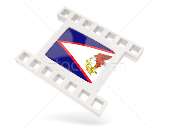 Filme ícone bandeira Samoa Americana isolado branco Foto stock © MikhailMishchenko